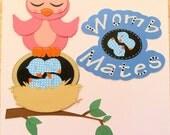 RESERVED FOR KAREN Womb Mates - Premade Scrapbook Paper Piecings Border Embellishments Owls