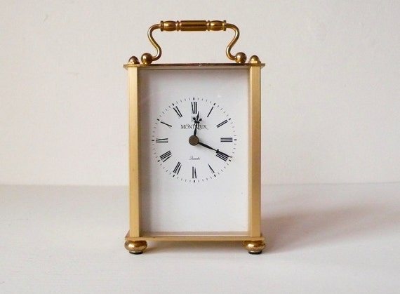 Montreux Rosewood Brass Shelf Mantel Clock Works Great