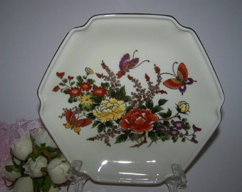Otagiri Plate Japan Hexagon Plate Decorative Floral Plate