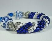 Blue Bracelet, Sterling Silver Bracelet, Beaded Crochet Bracelet,  Blue & White Bracelet