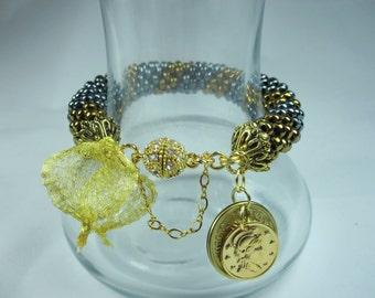 Crochet Spiral Bead Bracelet, Coin Bracelet, Charm Bracelet, Metallic Bead Bracelet
