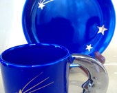 Celestial Cobalt Blue Moon Stars Demitasse / Coffee / Tea Cup Saucer Set Collectible OOAK