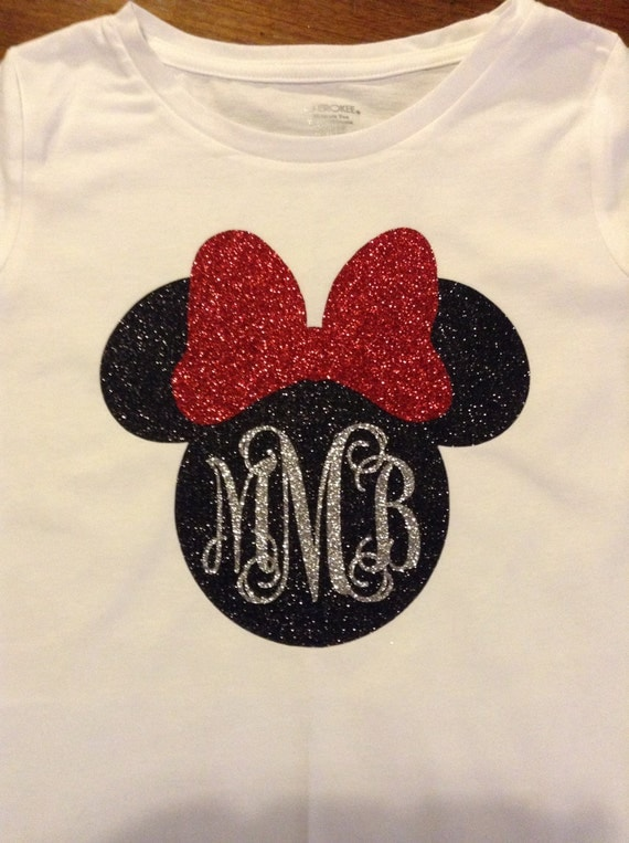 Items Similar To Girls Minnie Mouse Glitter Shirt