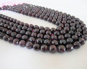 "GB-1160 - Natural Faceted Garnet Gemstone Beads - 8mm - 16"" Strand"