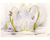 Snowdrop Spring Fairies swing flower illustration Children Art Print