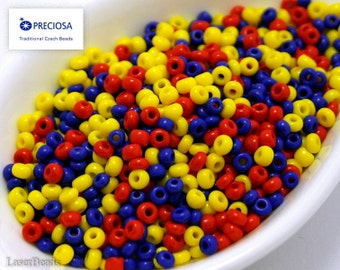 20g Czech seed bead MIX Red Yellow Blue 8/0 NR-8 Opaque Mix seed beads Mixed rocailles Opaque seed beads last