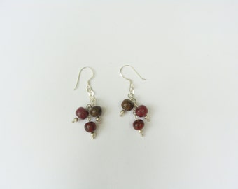 Delicate Chain and Wooden Balls Earrings
