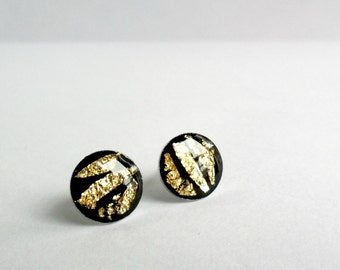 Black post earrings with golden foil, round studs, tiny earrings, animal print inspired, everyday jewelry