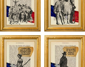 Victor Hugo Les Misérables Quotes 4 print set on pages from French Les Mis Novel with Gustave Brion illustrations French flag mixed media