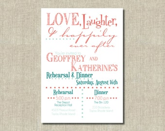 Coral orange, Mint Green Love, Laughter, Happily Ever After Printable Invitation Rehearsal Dinner, Commitment, Wedding