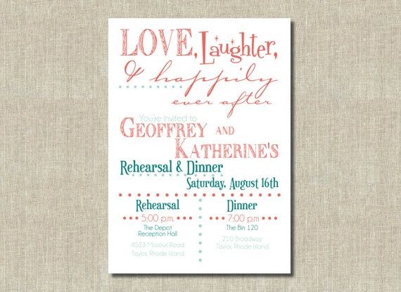 Happily Ever After Wedding Invitations: Coral Orange Mint Green Love Laughter Happily By