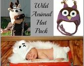 Wild Animal Crochet Hat Pack, Moose, Polar Bear, Owl