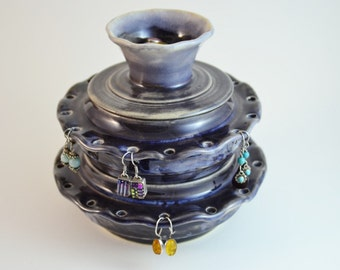 Double Decker Jewelry Bowl, Hand Thrown Earring Bowl, Ceramic Jewelry Box, Handmade Jewelry Organizer, Made to Order