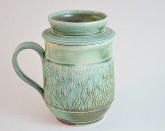 Mug with Lid for Holding Tea Bag, Turquoise Textured Lidded Tea Mug, Tea Bag Holder, Made to Order
