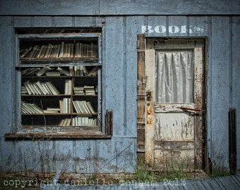 Book Photography Odell Oregon Abandoned Bookstore Blue--Fine Art Lomography 8x10