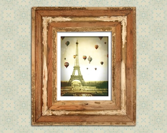 Paris Photograph Vintage Eiffel Tower Hot Air Balloons--Fine Art Distressed Lomography 8x12