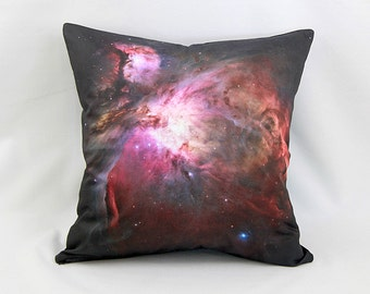 CLEARANCE: Orion Nebula Galaxy Pillow Cover - NASA Hubble Space Telescope Image on Cotton Space Photo Fabric