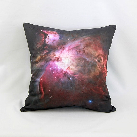Orion Nebula Galaxy Pillow Cover - NASA Hubble Space Telescope Image on Cotton Space Photo Fabric