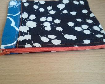 Flower zippered pouch