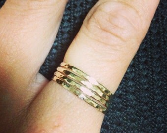 Hammered gold fill stackable ring