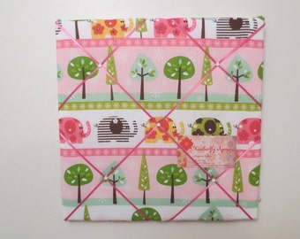12X12 Pink Elephant Fabric Memo Board