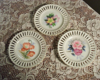 Set of 3 Small Decorative Flower Plates  Vintage Decorator Plates