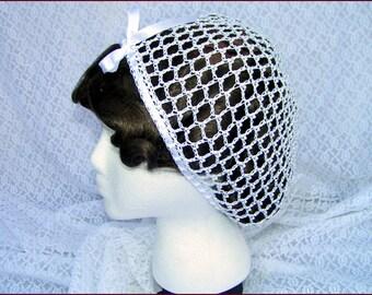 1800's Civil War Victorian Wedding White Snood with Pearls Hair Net Handmade 100% cotton