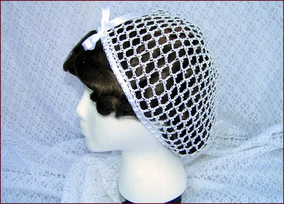 Vintage Hair Accessories: Combs, Headbands, Flowers, Scarf 1800s Civil War Victorian Wedding White Snood with Pearls Hair Net Handmade 100% cotton $49.50 AT vintagedancer.com
