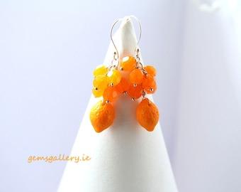 SALE SALE SALE  Happy Orange Glass with Sterling Silver Earrings