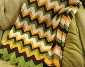 Chevron sofa throw, blanket, crochet, mustard, brown, white and green, retro