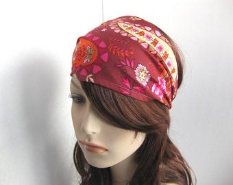 Wide Paisley Floral Bandana Bohemian Headband Head Wrap Dreadband Women's Headband  Boho Headband Burgundy Pink Orange Cream Taupe