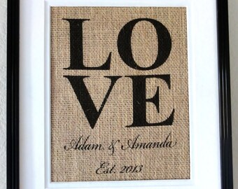 Valentines Day Gift - LOVE Burlap print with Couples Names and Est. Date