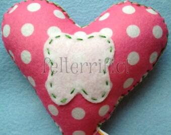 Handmade Heart Shaped Tooth Fairy Pillow