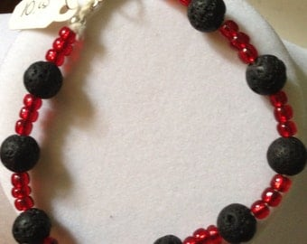 Ring Of Fire- lava rock and fire red glass beads