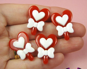 5 pcs ReD HEART LOLLIPOP with BOW Decoden Kawaii Resin Flatback Cabochon 27x20mm