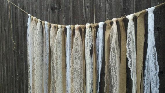 Rustic Charm Barn Wedding Burlap and Lace Garlands Swag Rag