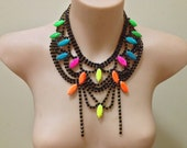 """Hand painted """"Tree of Neon"""" blue ombre with neon accents rhinestone bib necklace"""
