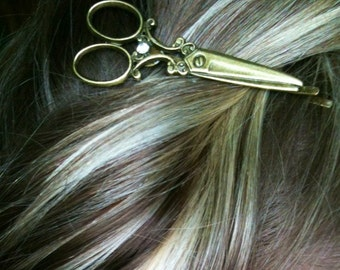 Shears Necklace. Scissor Necklace with matching Bobby pin gift / present / hairdresser / hair stylist