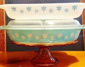 Set of Pyrex Turquoise Snowflake Casseroles