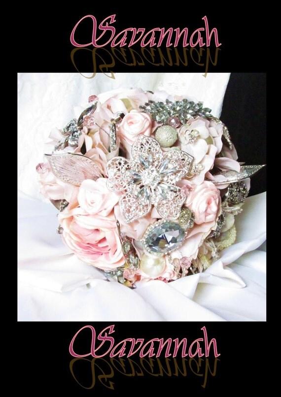 SAVANNAH - Pink / Grey Brooch Bridal Bouquet - SAVANNAH