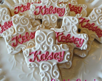 Monogrammed Cross Baptism Confirmation Baby Dedication Cookie Favors One Dozen