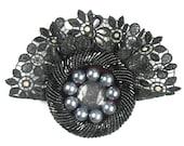 Retro, Vintage Brooch,Lace,Gipiure,Black,Grey,Oryginal,Velvet,Goth - AleksandraSemeniuk