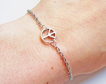 Peace bracelet, tiny peace bracelet, silver peace bracelet, karma bracelet, anti war bracelet, dainty peace bracelet, cute, sweet