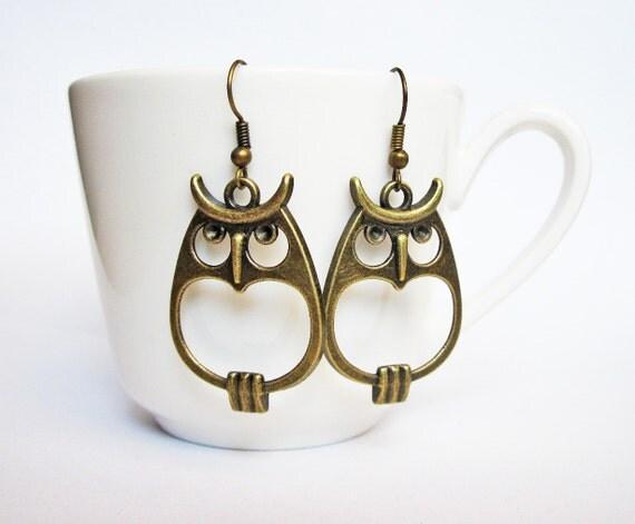 Bronze Owl Earrings, Owl Jewelry, Bird Earrings Owl, Owl Dangles, Woodland creatures earrings