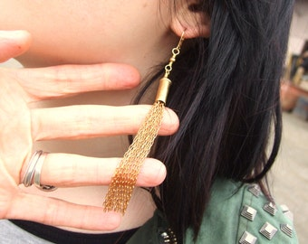 Recycled 22 Caliber Bullet Shell Tassel Earrings--Brass Chain Tassel--Upcycled Bullet Shell Jewelry--Edgy Fashion Shoulder Dusters