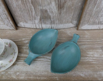 Pair ofTurquoise Leaf-Shaped Decorative Wood Bowls