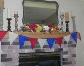 4th of July Burlap Banner (6ft long) Garland Bunting Red White Blue (other colors and sizes available)