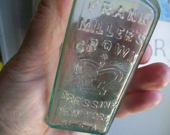 Frank Millers Crown Dressing Bottle for Shoes New York USA No 37 on bottom Antique Bottle Shoe Polish