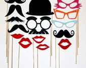 Photo Booth Party Props Mustache On A Stick  Fun Weddings, Birthdays -  Photography Prop Mask -Lips, Derby Hat And Retro Colored Eye Glasses