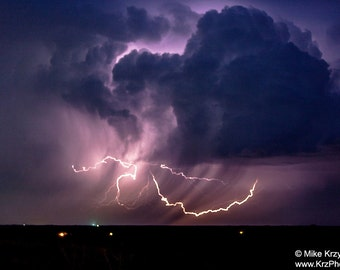 Colorful Lightning Display at Night in Oklahoma